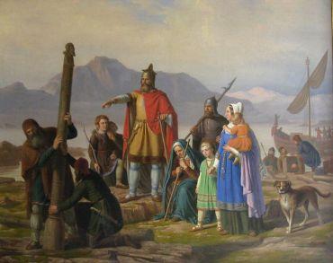 Lo Sbarco dei primi coloni vichinghi in Islanda, Johan Peter Raadsig, 1850