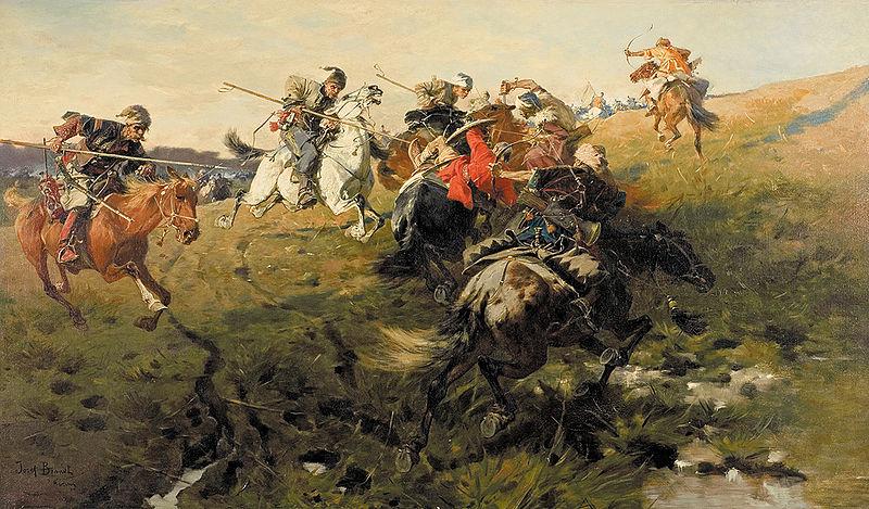 Arcieri a cavallo tatari si scontrano con lancieri cosacchi - Jozef Brandt, 1890