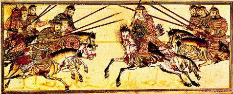 Lancieri della cavalleria pesante mongola, XIII-XIV secolo. Notare le armature lamellari